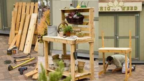 obon:  Repurpose Wooden Pallets Into a Potting Bench  Better Homes and Garden magazine's site provides the step-by-step photos and instructions at the source link below  [photo credit & article source: Better Home & Garden via Lifehacker]