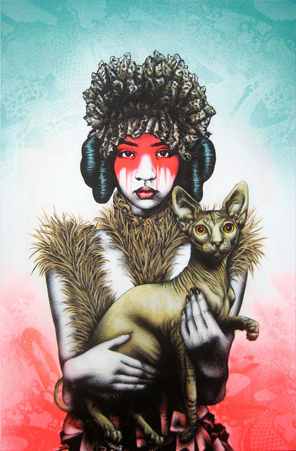 findac:  New canvas work - Canine-Feline Single layer stencil with freehand spitting, acrylic and Montana Gold spray paint on 61 x 92 linen canvas