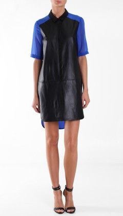 Love this leather and silk dress by Tibi!