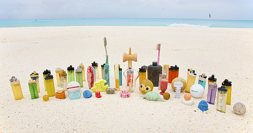nprfreshair:  Plastic that has floated on the islands of Midway Atoll. On tomorrow's Fresh Air, we'll talk to journalist Edward Humes about the Pacific Garbage Patch — and the other gyres of trash floating around our oceans. Great Pacific Garbage Patch (by J Gilbert)