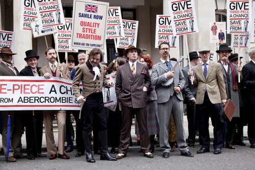 laughingsquid:  Dapper Britons Politely Protest Abercrombie & Fitch in London