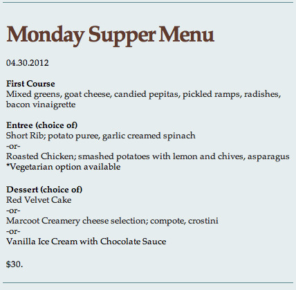 This week's Monday Supper Menu at NICHE (April 30, 2012)