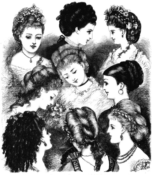 vicfangirlguide:  An illustration from the 1870s showing the various fashionable hairstyles of the day. Styles such as these were extremely complicated to achieve and required hours of dressing by a lady's maid. French lady's maids or those who had trained in France were especially sought after for their hairdressing skills.