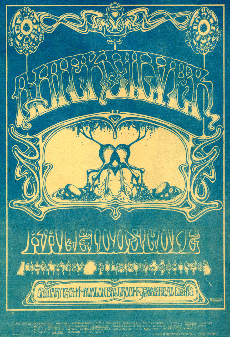 Classic Rick Griffin artwork in this ad for a show with Quicksilver Messenger Service, Kaleidoscope and Charlie Musselwhite at the Avalon Ballroom in 1968.