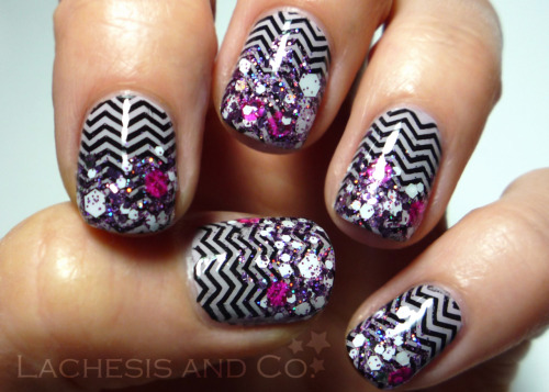 lachesisandco:  Chevrons and Glitter Zoya Kendal Konad Special Black Bundle Monster plate BM201 Pretty and Polished Hello Dolly