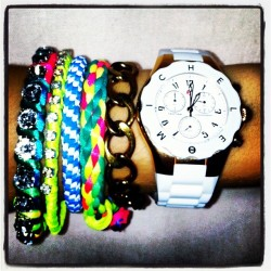 ARM RAVE 🙌✨ #armrave #armparty #neon #bracelets #jewelry #swag #style #bright #instagood #instaself #wednesday #me #igaddict #instagrammers #pretty #fluro #gold #michele #watch (Taken with instagram)