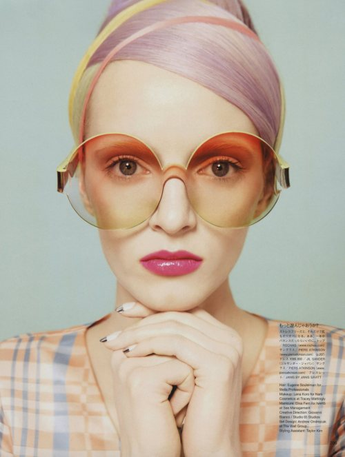 gerryadam:  Daria Strokous for Vogue Japan Daria graces the beauty supplement cover and beauty editorial for the June 2012 issue of Vogue Japan. Well this shot is really cool. I love the retro look and concept on her. The oversized glasses looks really crazy and weird but somehow I like it. She looks absolutely cool and awesome. I love the pastel colors as well here.