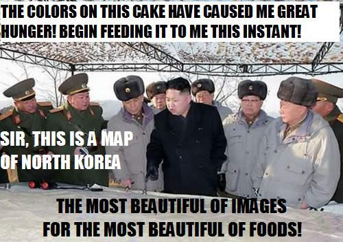 After his officers explained to him what a map was, Kim Jong-Un devoured the map in record speed. Though, the respected leader did explain later that a proper cake should not be just icing.