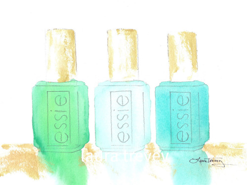 Essie nail polish watercolor prints by Laura Trevey