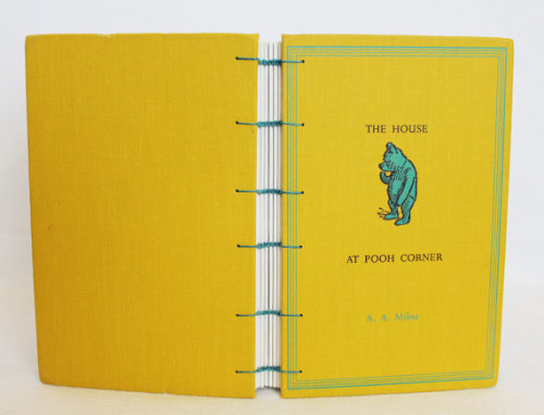 Handmade journal with recycled 'The House at Pooh Corner' book covers, double-needle coptic binding. by Prairie Peasant on Etsy