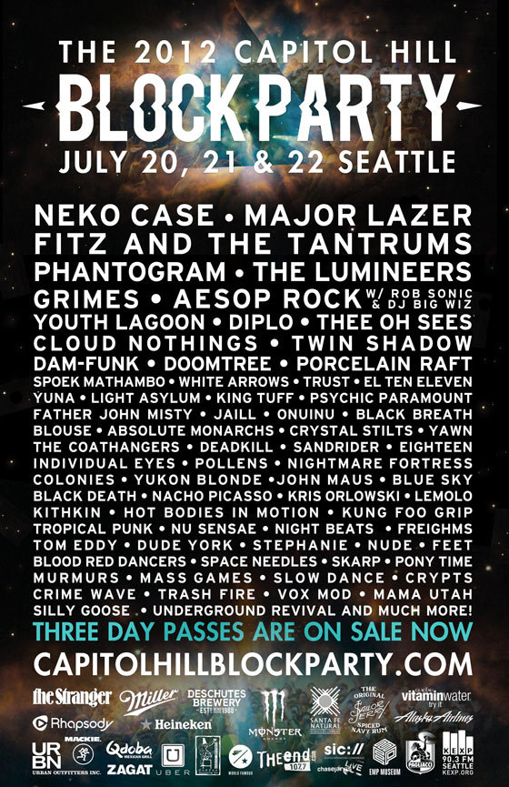 seattlechillin:  Get ready Seattle! Its about to get rachet  Wow. This lineup is…kinda…disappointing? Cloud Nothings/Father John Misty/Grimes/Youth Lagoon/Maybe Diplo are the only redeemable factors here.  /opinionated post