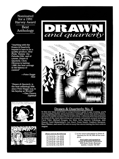 Promotional/subscription ad for the anthology Drawn & Quarterly #6 featuring art by Mary Fleener, 1991.