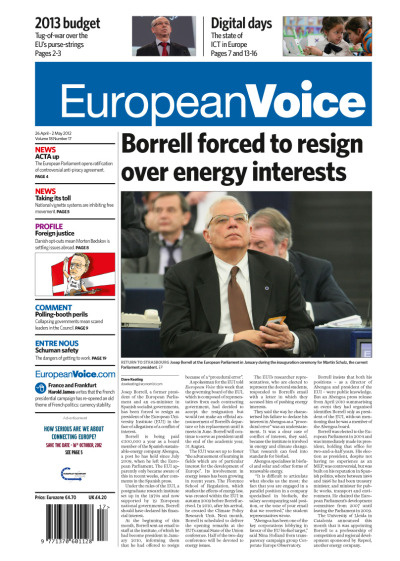 Tomorrow's front page today (26 April-2 May). Cover article: Borrell forced to resign over energy interests.