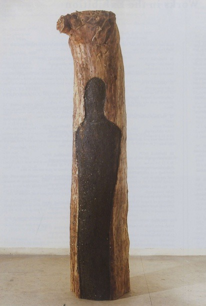 Ana Mendieta (1948–1985). Untitled, 1985. Semi-circular tree trunk carved and burnt with gunpowder, for a proposed project for the MacArthur Park Public Art Program in Los Angeles, which was not completed before her death.