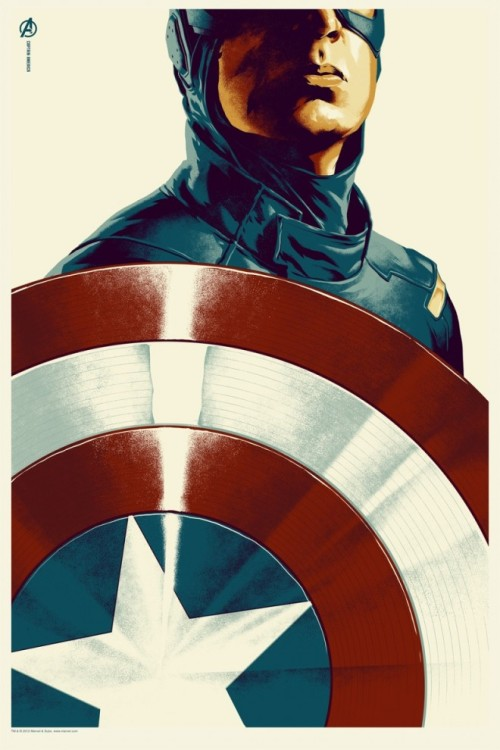 BEHOLD! The new Captain America poster for The Avengers, from Mondo and Marvel! More @ Underwire.