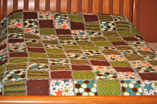 Queen size rag quilt I made for my husband.