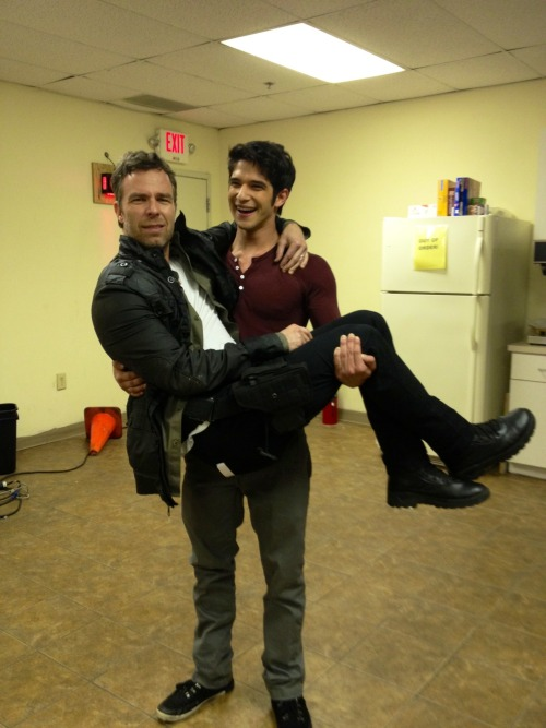 Tyler Posey showing JR Bourne how strong he is.