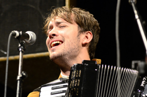 Ben Lovett of Mumford & Sons performs after the premiere of Big Easy Express at SXSW in Austin, Texas on March 17, 2012. Photo copyright Amy Price.