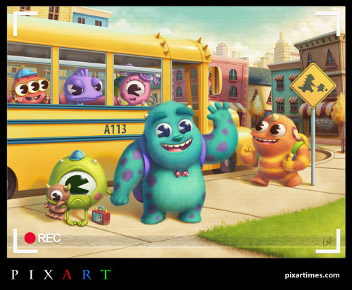 New Artwork Portrays Young Mike & Sulley On Their Way To Elementary School. Read about the awesome artist here!