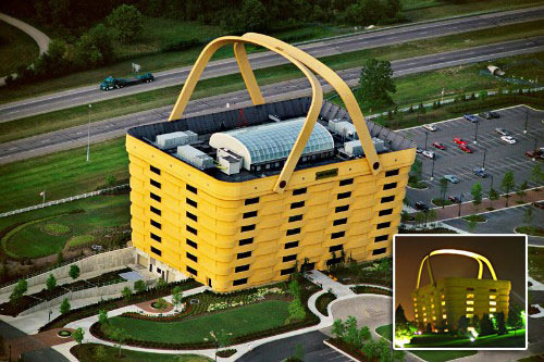 the basket building, ohio, usa…  is a local landmark and a well-known example of novelty architecture….  the basket handles weigh almost 150 tons and can be heated during cold weather to prevent ice damage….  it is the headquarters of the longaberger company who  manufacture handcrafted maple wood baskets….