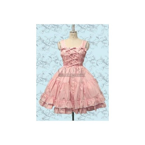 Pink A-Line Column Straps Cotton Lolita Dress Lolita153-2. 							Condition: Brand New Made Silhouette: A-LineSleeve length:SleevelessFabric:CottonShipping Weight:0.8KGIncludes: UnderskirtSize:XS S M L XL XXLShown Color:Pink Color amp; Style representation may vary by monitor.http://www.lolita-clothing.com/592-pink-a-line-column-straps-cotton-lolita-dress-lolita153-2.html