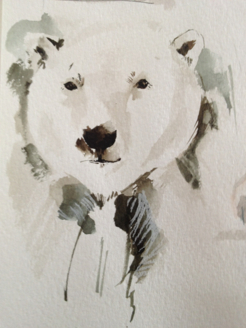 I've been drawing a lot of polar bears. I like this one but he's buried amongst lots of others in my sketchbook.
