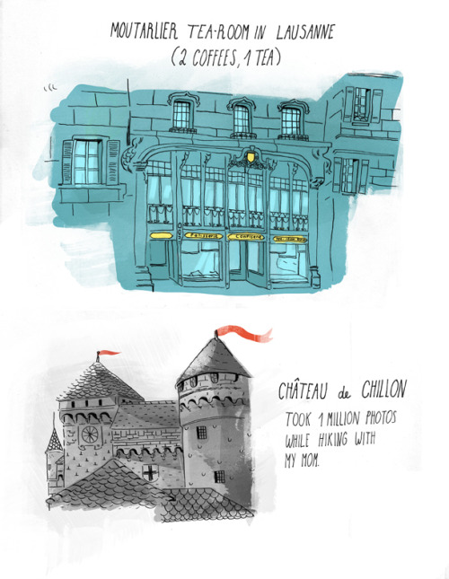 A couple sketches from Switzerland where I played the tourist and roamed around with my parents.