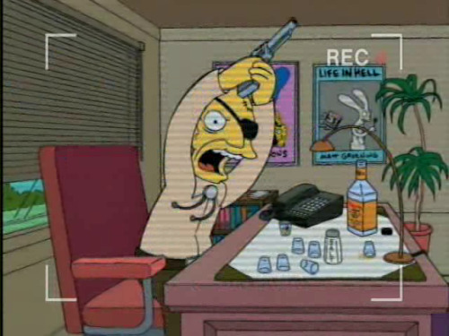 Get out of my office!  Matt Groening, an old drunk who made humans out of his rabbit characters to pay off his gambling debts.