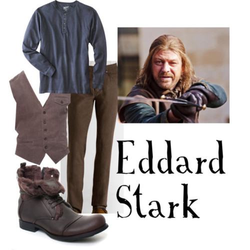 fashionablefandoms:  Eddard (Ned) Stark Black Brown 1826 Classic Fit Linen Pants, $50Men's First Fork Long-Sleeve Henley, $40Bunker Boots Boots Tara Tar Nub In Dark Brown., $50Corduroy Vest, $28  This definitely seems more like my pace.