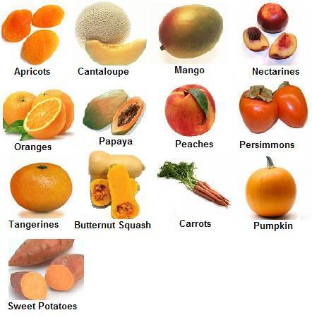 Orange Fruits and Vegetables Carotenoids are the powerful phytochemical in orange foods, and they are what give the foods their color. Carotenoids repair DNA and help prevent cancer and heart disease, as well as strengthening our vision. These orange foods also give us the right amount of potassium and vitamin A, which keeps our eyes and skin healthy, and protects against infections. They are also known to boost the immune system because of the vitamin C content in many of them.