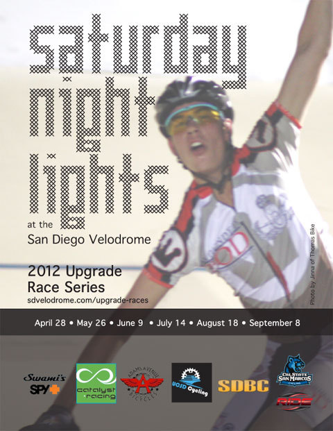 THIS WEEKEND AT SAN DIEGO VELODROME   Saturday Night Lights!  Nice to have some USAC-sanctioned track racing in San Diego.  I'm definitely going to try to get down there.  Get all the details HERE.  ALSO Friday Night Racing begins this weekend.  The perfect night to get your race chops up if you want to hit their famous Tuesday Night Races.
