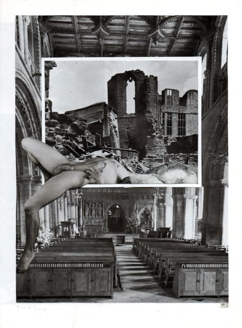 Man in and out of ruins, Ben Thompson, hand collage, 2012