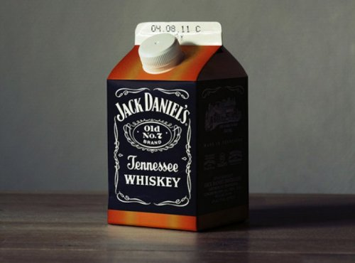 Jack Daniels in a Milk Carton   Pour it over barbed wire for a manly breakfast.