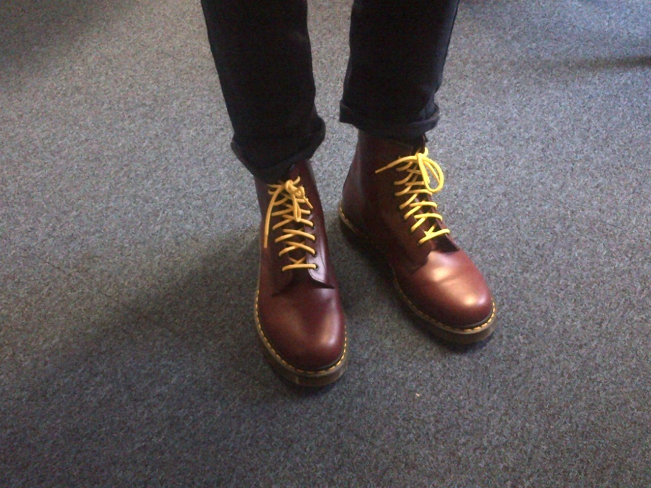 Dr Martens, 8 ups, Cherry. Oh so nice :)  digitalharijan:  Classmate rocking Dr. Martens