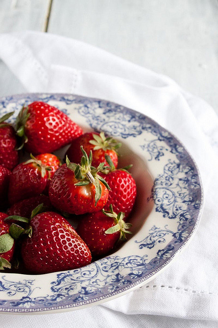 thechubbyfoodist:  Strawberries by Little Upside Down Cake on Flickr.