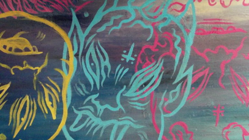 w5 (detail) 9x30in. acrylic on wood. Did I mention that those slabs of wood were at some point bookstore shelves?