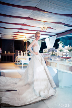 vogue:  Model Caroline Trentini Photographed by Thiago Bellini in a Wedding Dress Designed by Olivier Theyskens
