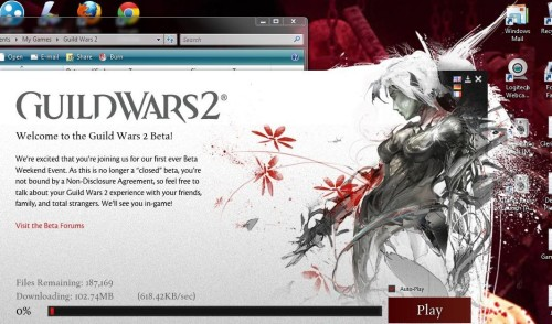 The Beta Client for Guild Wars 2 is ready for download; install it now (if you have pre-purchased the game) so that you will be able to get in on the action as soon as the BWE beginning this Friday at noon PDT/3:00PM EST (GMT -7). *The link has been sent to your e-mail that is associated with your Guild Wars (original) account if you have linked it.