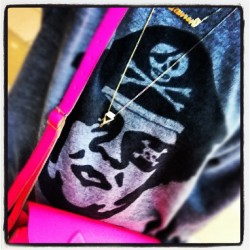 💀💀💀 #ootd #pirate #obey #gold #pink #cambridgesatchel #necklaces #style #instaself #wednesday #instagood #comfy #rainy #fluro #igaddict #girlswithswag (Taken with instagram)