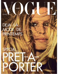 Brigitte Bardot on the February 1973 cover of Vogue Paris. Vogue