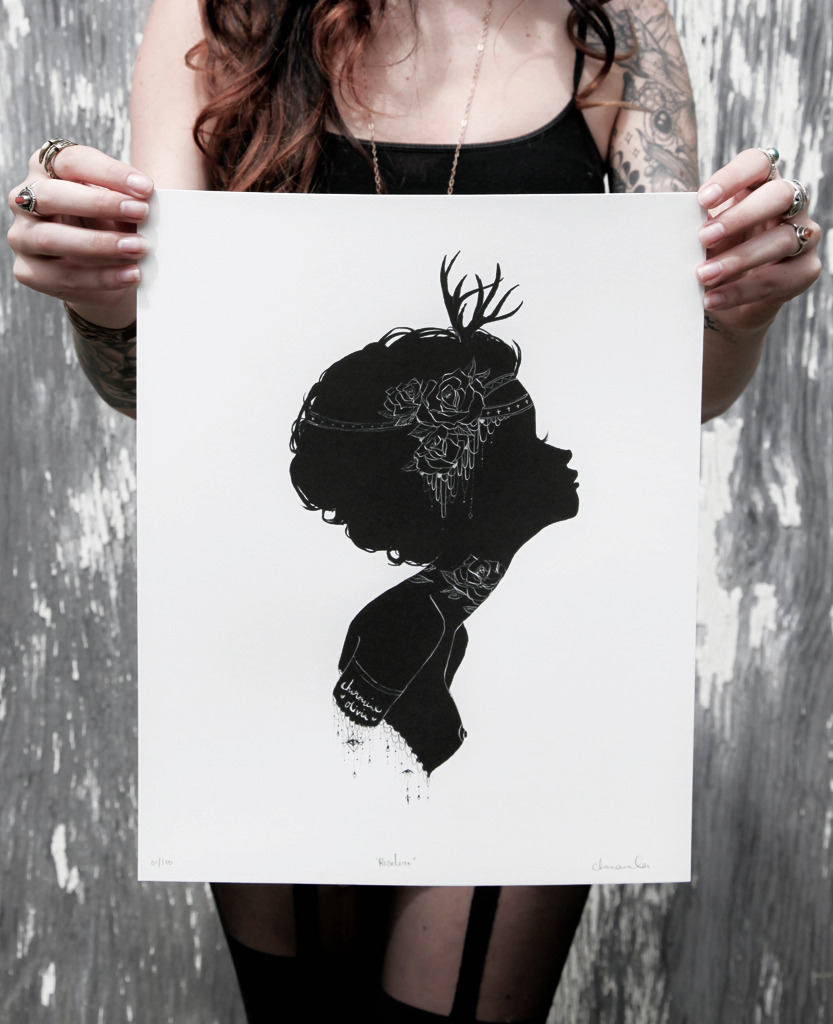 "charmaineolivia:  Roseline signed limited edition prints now in my shop! ♥ http://CharmaineOliviaShop.com/This print measures 11"" x 14"" inches and is printed using archival inks on 100% acid-free stone wash watercolor paper. Edition of 100 only."
