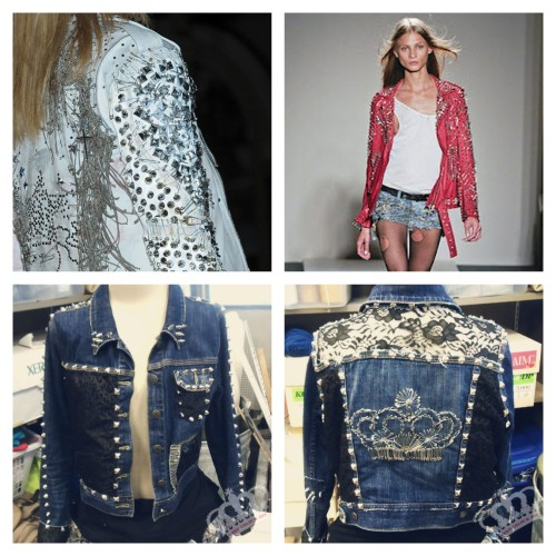 DIY Balmain Inspired Jean Jacket. Top Photos: Balmain Spring RTW 2011 here. Bottom Photos: DIY by  Keep Calm and DIY. Detailed Tutorial and lots of photos from Keep Calm and DIY.  This is not a quick and easy project, but this tutorial has so many good ideas in it: inset lace yolk lace overlays studded seams animal print detail safety pin details and crown (which if you read my blog you know I love to use safety pins for clothing and jewelry here).  collar, cuff and pocket details
