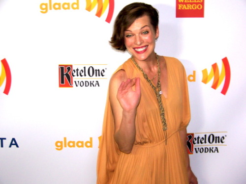 SassySays.com Milla Jovovich on the red carpet at The Los Angeles #GlaadAwards April 21, 2012