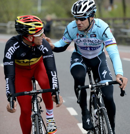 "fuckyeahcycling:  Belgian cyclists Philippe Gilbert and Tom Boonen take part in the track reconnaissance of the Belgian cycling team for the world championship in Valkenburg, on April 25, 2012. AFP PHOTO / BELGA / DIRK WAEM ***Belgium Out*** (via Belgian Cyclists - Yahoo! Sports Photos)  ""Hey Phil? You forgot to change out of your jammies again before the ride. As your friend, I thought I should tell you."""
