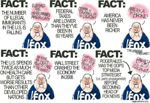 stfuconservatives:  There is not a single Fox News talking point that isn't built upon a lie or a fundamental misunderstanding of the issue. -Joe
