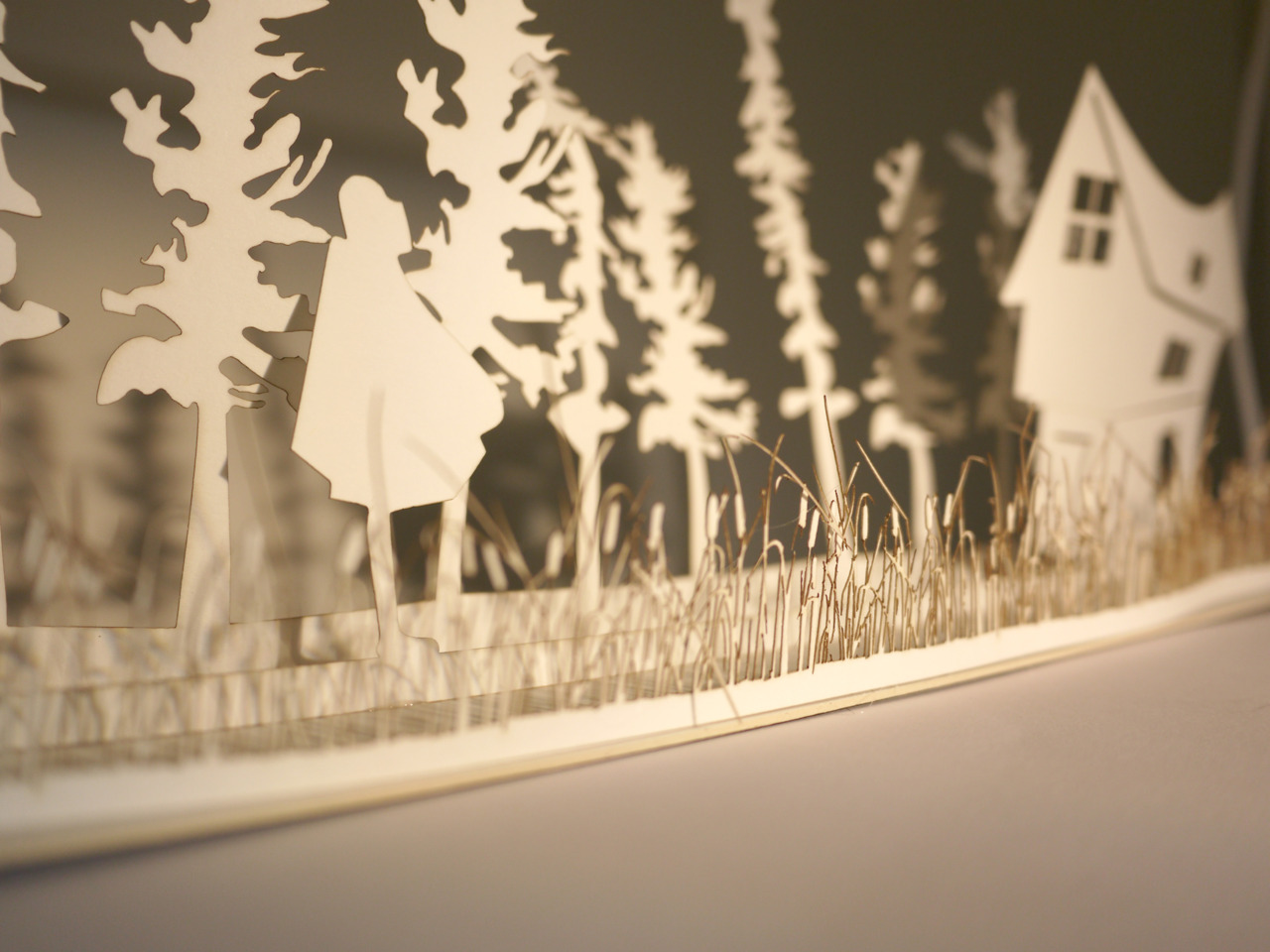 Red riding hood. Playing with paper, how the scene will work, thinking of how/where/what arduina to add….