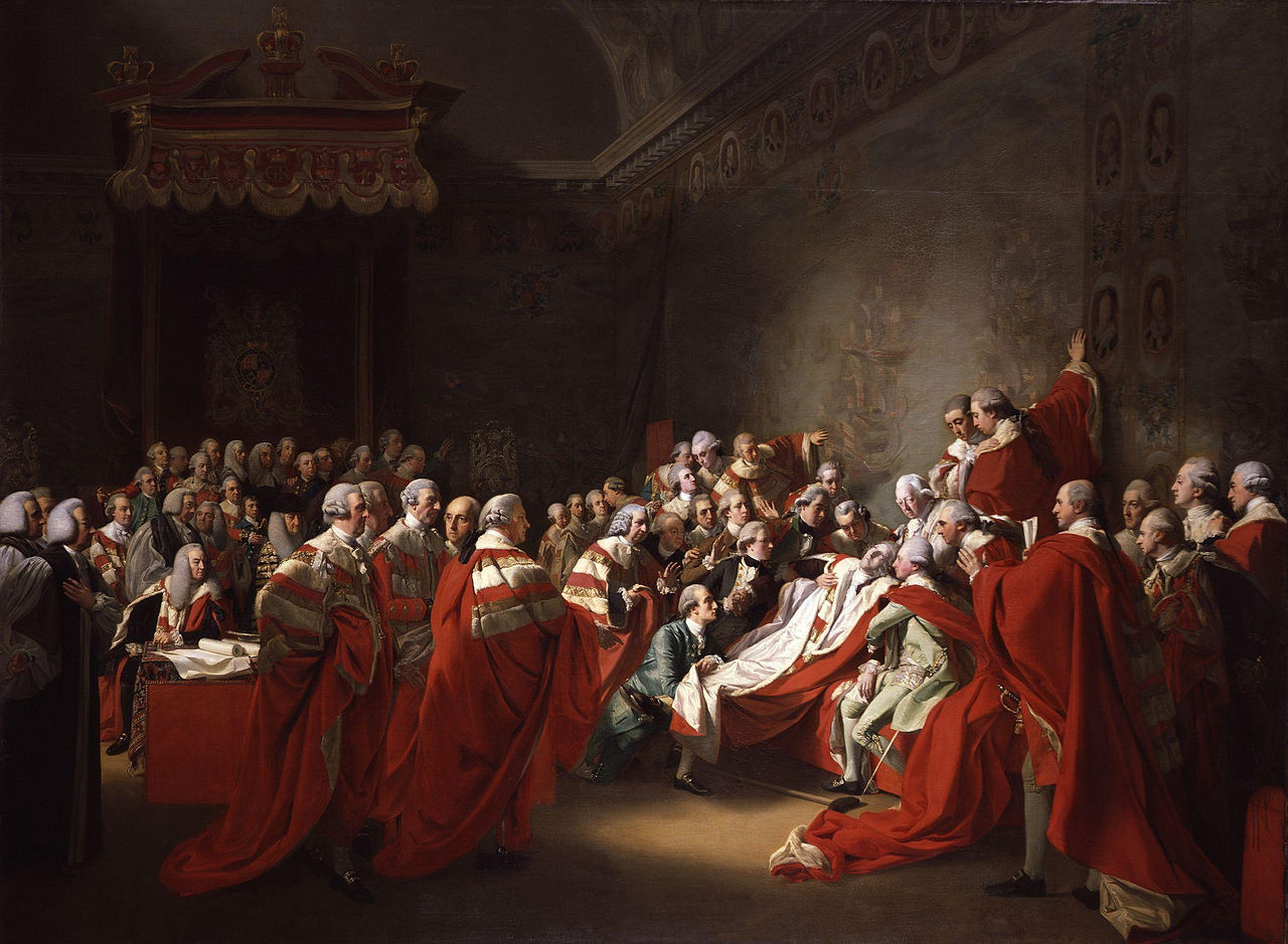 imageofempire:  The Death of the Earl of ChathamJohn Singleton Copley (1737-1815)Oil on canvas, 1779-80228.6 x 307.3 cmNational Portrait Gallery, London  The painting represents the collapse of William Pitt, 1st Earl of Chatham, in the House of Lords on 7 April 1778 after speaking for every measure in favour of the British colonists in America short of actual independence. Chatham died a month later. The fallen earl is surrounded by his three sons and his son-in-law, Lord Mahon, and is supported by the Dukes of Cumberland and Portland. The Duke of Richmond, who has just finished speaking, stands nearby. Lord Camden described the scene in a letter to the Duke of Grafton: 'He fell back upon his seat, and was to all appearance in the agonies of death. This threw the whole House into confusion …. even those who might have felt a secret pleasure at the accident, yet put on the appearance of distress, except only the Earl of Mansfield, who sat still, almost as much unmoved as the senseless body itself'.