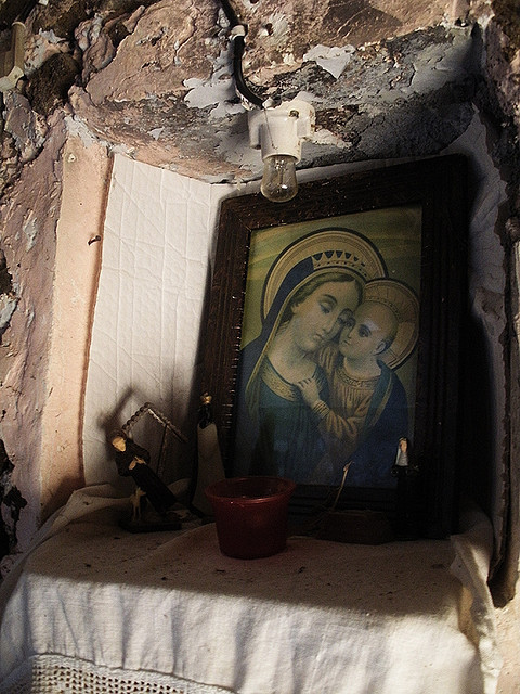 A small shrine in honour of Our Lady of Good Counsel in Genazzano, Italy.