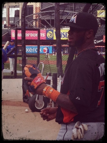 marlins:  Jose Reyes plays catch ahead of Wednesday's game in New York.