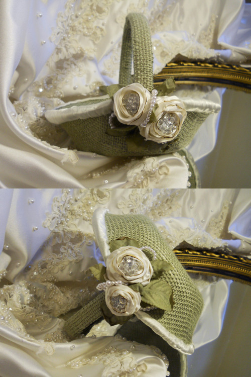 Flower Girl Basket from the Vintage Diamond Rosette Collection, handmade of sage muslin, ivory satin, pearls.